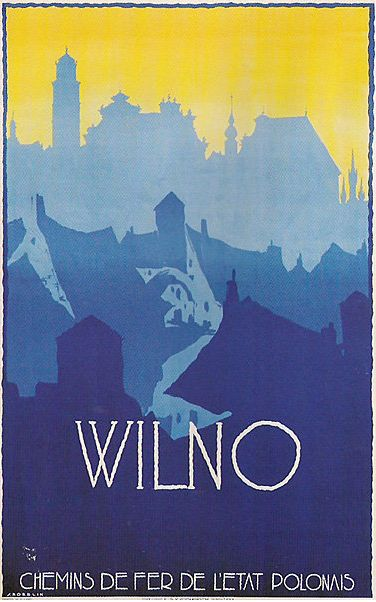 Polish Travel Poster by Stefan Norblin, 1928, Wilno (Vilnius). (Would love to try something like this with the different cities I've traveled to -Holly)