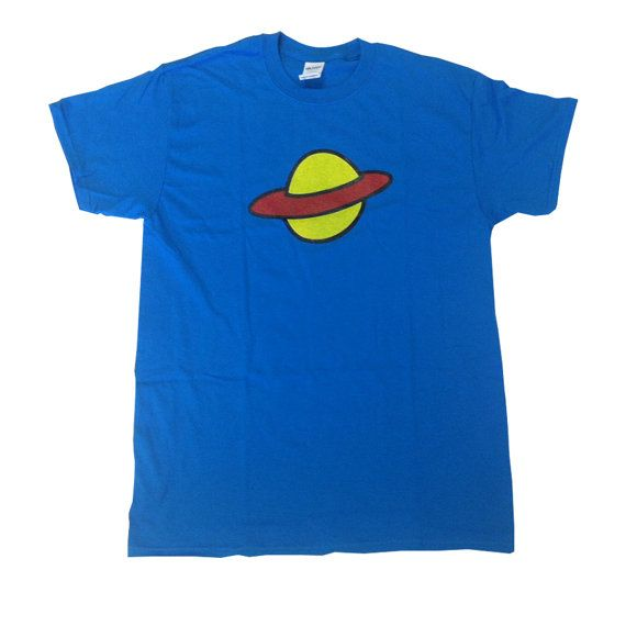 Camiseta de Saturno como usado por Chuckie Finster en Rugrats TV Show planeta 90 camisa Nickelodeon disfraz de Chucky dibujos animados Cosplay adulto azul