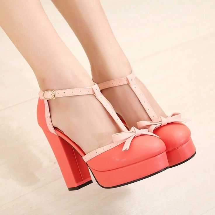 Women's Sweet Bowknot Decor T-Strap Round Toe Platform Pump High Heel Chic Shoes