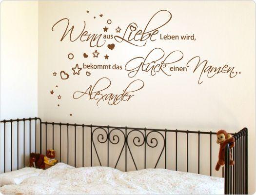 Perfect Kinderzimmer Wandtattoo Spruch Wenn aus Liebe Leben wird bekommt das Gl ck einen Namen mit Wunschnamen