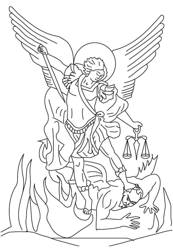 st michael defeats the devil coloring - Google Search