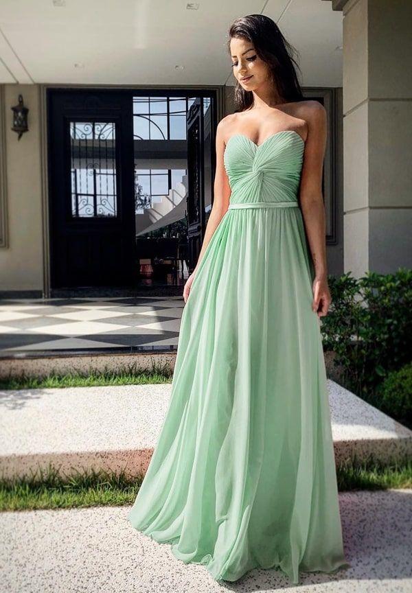 vestido de festa longo verde menta para madrinha de