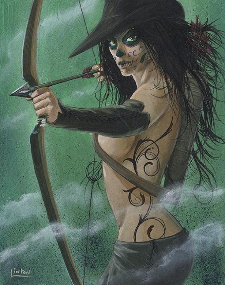 Robyn De Muertos by JR Linton Girl Bow & Arrow Tattoo Canvas Art Print