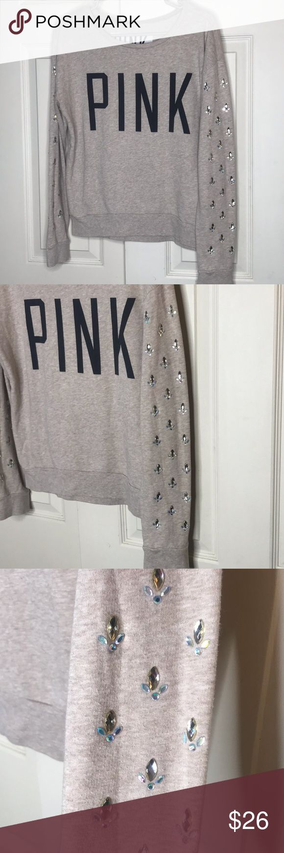 Pink by Victoria's Secret pullover w/bling sz XS Pink by VS beige pullover. It…