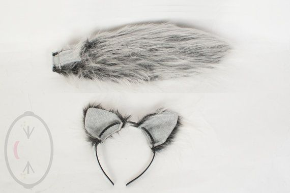 "SMALL Silver Wolf Furry Ear and/or 16"" Tail Set Cosplay, Accessories, Costume - for Kids or Adults"
