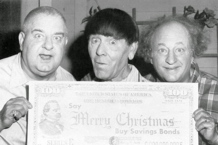 (L to R) Curly Joe DeRita, Moe Howard, and Larry Fine for U.S. Savings Bonds  Vintage Everyday: Vintage Celebrity Christmas Ads