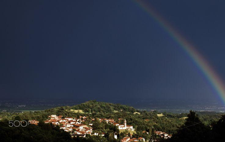 The rainbow over the village of Graglia - The rainbow over the village of…