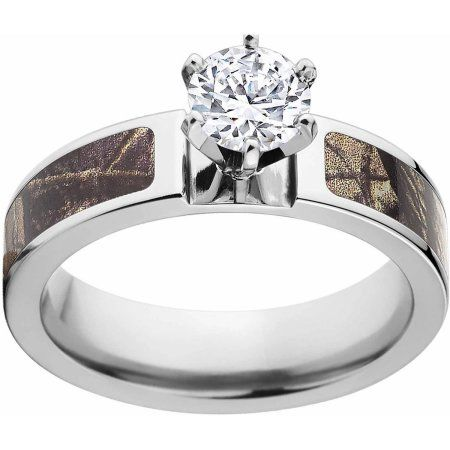 Realtree AP Women's Camo 1 Carat T.G.W. Round CZ in 14kt Whit Gold Prong Setting Cobalt Engagement Ring with Polished Edges and Deluxe Comfort Fit