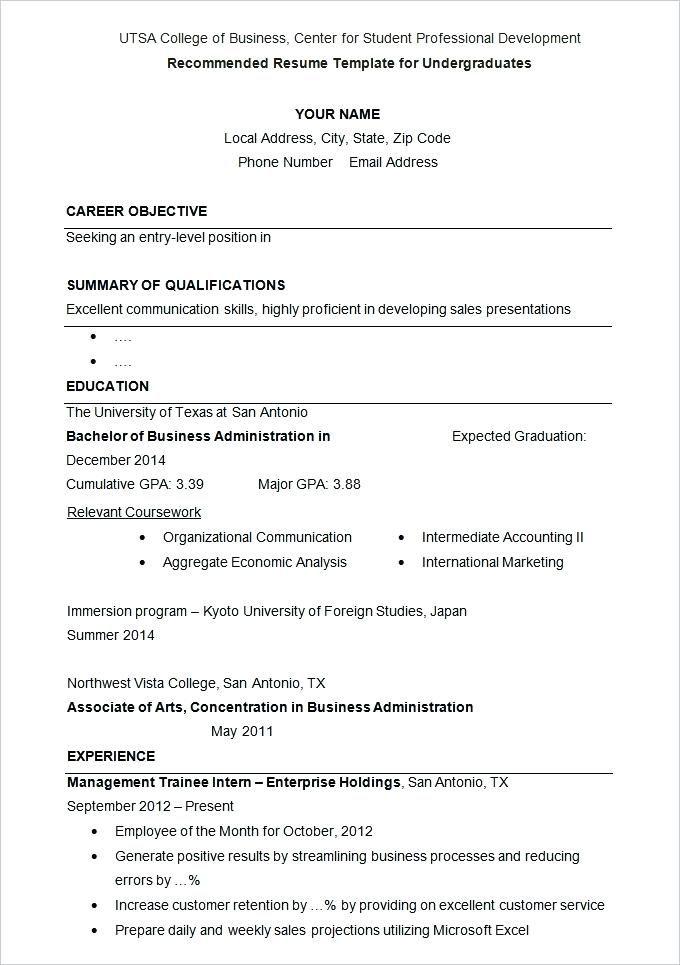 College Application Resume Outline Sample Under Graduates