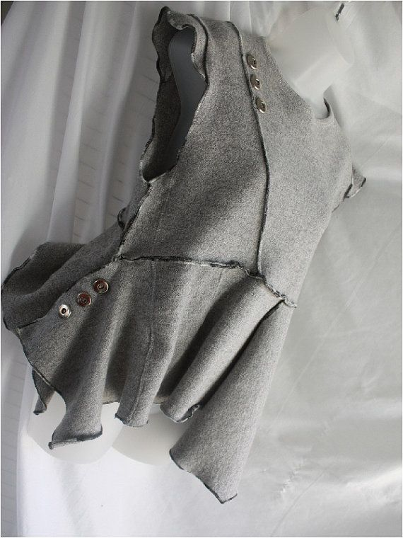 Womens upcycled tunic top. Recycled, grey, sleeveless, assymetric hem.