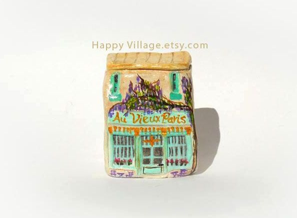 "Ceramic pottery miniature little clay house Little Clay house ""Au Vieux Paris d'Arcole"" miniature Little Clay House Ceramic House  Miniature House Whimsical house #littleclayhouse #clayhouse #tinyhouses #ceramichouses #potteryhouse #clayart #housewarminggift #Paris #Frontshop  #Frenchshop #frenchshops #french #restaurants #handmade #etsyhandmade #etsyfavorites #happyvillageartwork #AuVieuxParisd'Arcole"