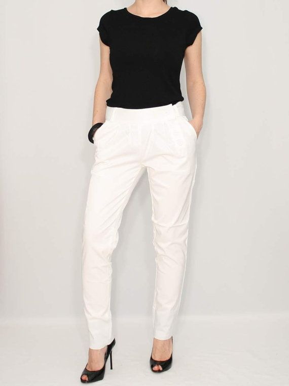 Women White Pants Loose fit Pants