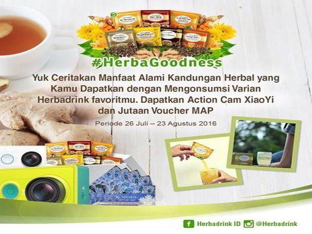 Kontes Foto Herba Goodness Berhadiah Action Cam & Voucher MAP - Herbadrink adalah minuman herbal dengan bahan alami dan rasa yang nikmat serta khasiat
