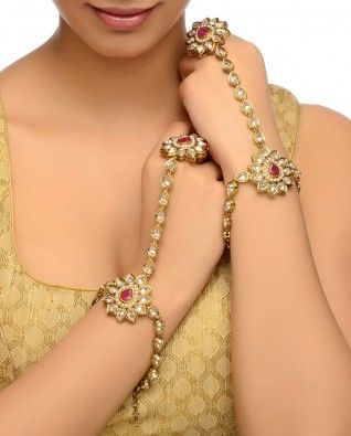 #Exclusivelyin, #IndianEthnicWear, #IndianWear, #Fashion, Floral Hathphool Pair with Crystal Stones