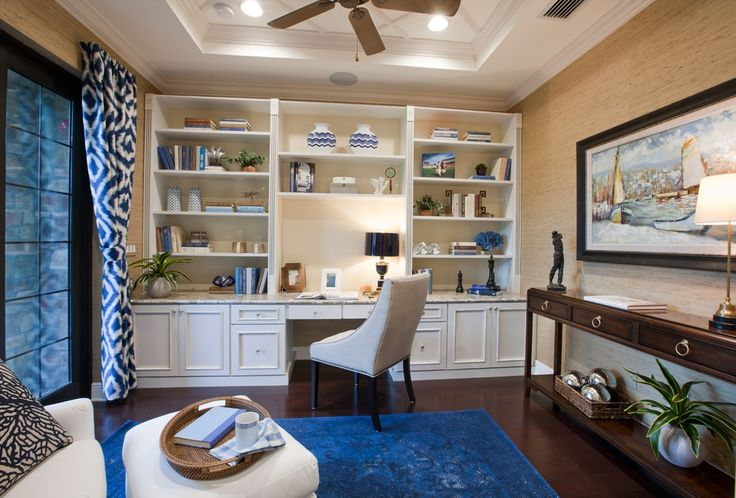 Transitional Home Office with Built-In Desk Wall Unit, Ceiling fan, Crown molding, High ceiling, Carpet, Hardwood floors