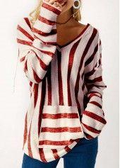 Pocket Long Sleeve Striped V Neck Sweater | Rosewe.com - USD $28.94