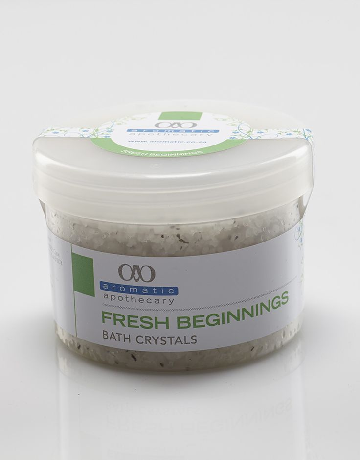 Fresh Beginnings Bath Crystals - Lime, Lemongrass, Bay & Clary Sage essential oils in salt, epsom salt and bicarbonate salt mixture... Refreshing and revitilising!
