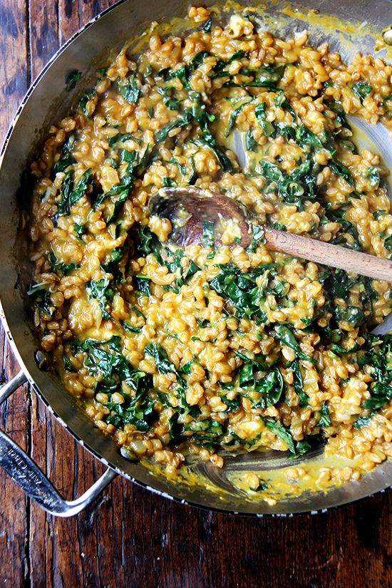 So, I really want to tell you all about this farro risotto, made with homemade vegetable stock, roasted and puréed butternut squash, and a handful of thinly sliced kale, but I can't right now. If any of you have listened to one minute of Serial, you understand. I just got to the part in Episode...