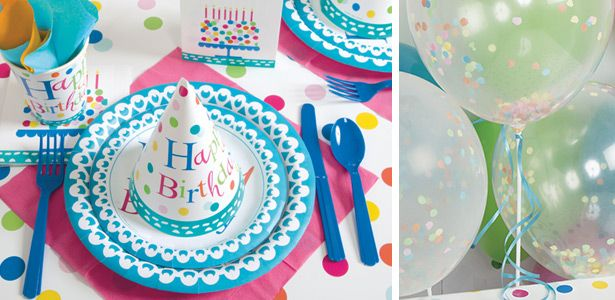 Décoration anniversaire fille Happy Birthday Turquoise avec VegaooParty