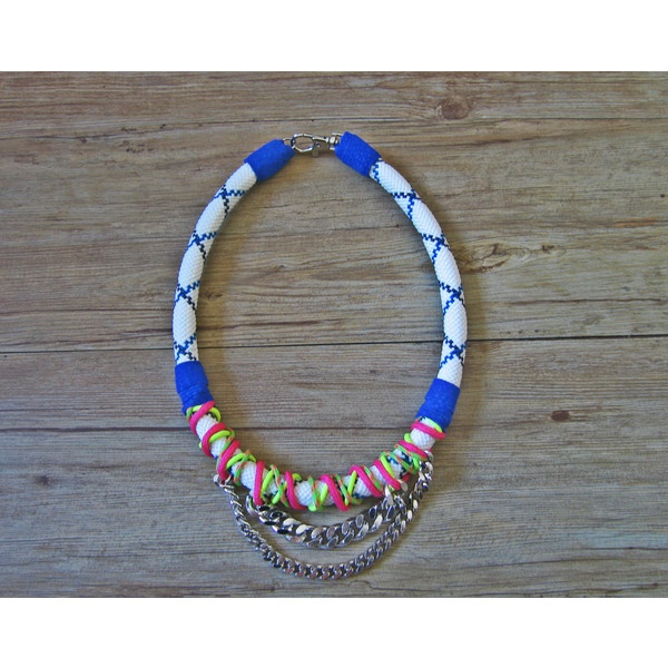 Neo tribal rope necklace in blue and white statement by maslinda ($69) via Polyvore