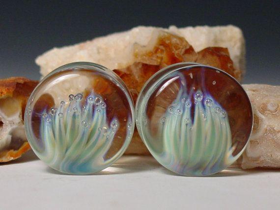"Lotus thistle ear plug 7/8"" gauge  handblown glass pendant piercing jewelry"