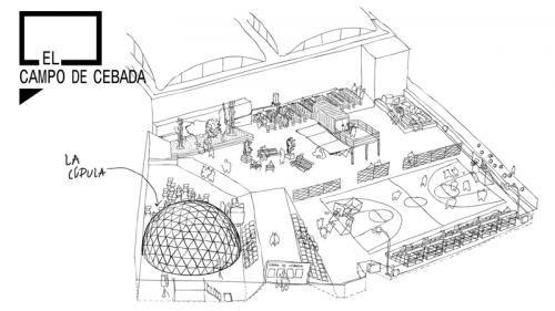 Construcción de una cúpula geodésica en el Campo de Cebada