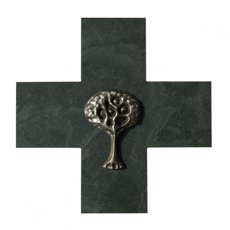 Taufkreuz Lebensbaum 14 cm Schiefer Neusilber 67980