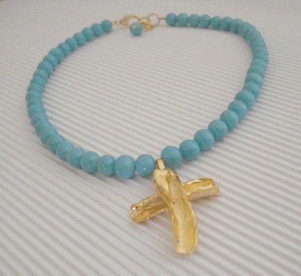 Gold cross necklace Baptism gold cross necklace by Poppyg on Etsy