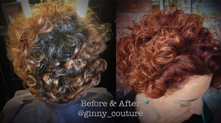 Ginny took Nicole from grown out, brunette curls to a spicy red that suits her vibrant personality!