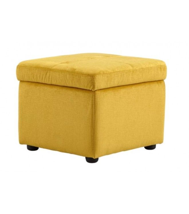 Bright Yellow Fabric Square Storage Ottoman Footstool Square Storage Ottoman Storage Ottoman Ottoman Footstool