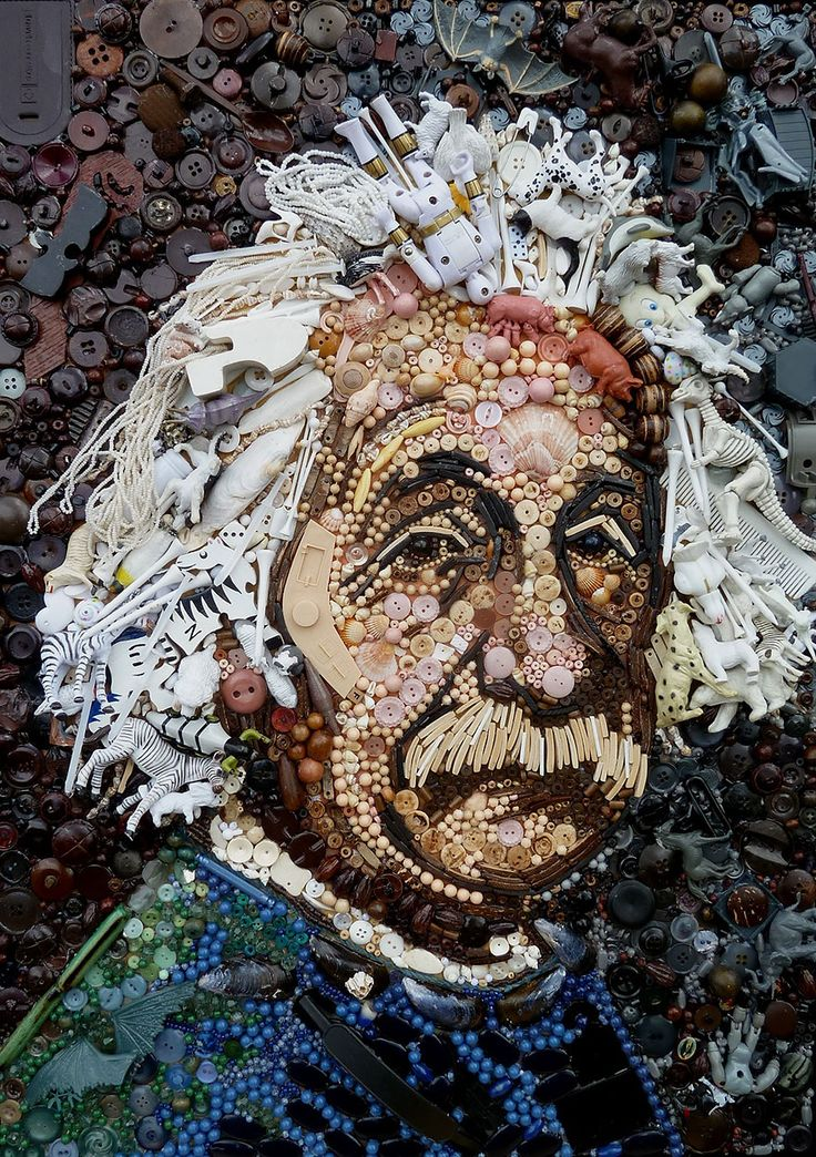 """n her """"Plastic Classics"""" series, British artist Jane Perkins uses almost anything she can find – buttons, plastic toys, LEGO pieces, etc. – to re-create recognizable iconic paintings like DaVinci's Mona Lisa and portraits of stars like Albert Einstein and Nelson Mandela."""