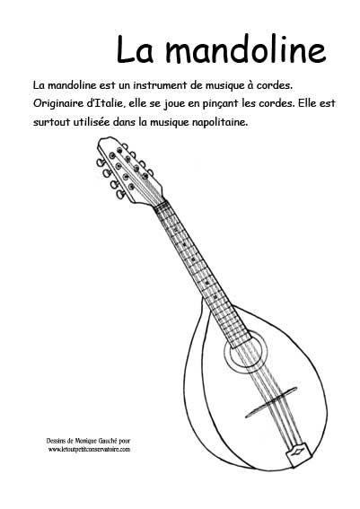 Dessin de la mandoline dessins coloriages d 39 instruments - Dessiner un violon ...