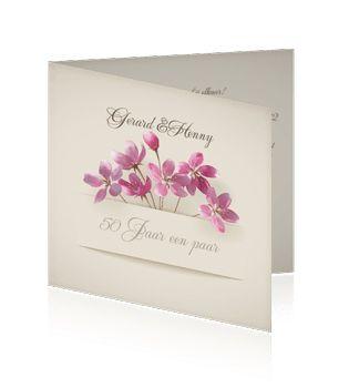 Mooie, chique en originele bloemen jubileumkaarten zelf maken.