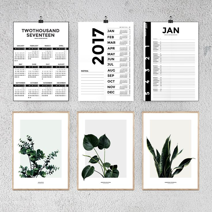2017 kalender og planteplakat (calendar and plant posters) Another Poster Shop