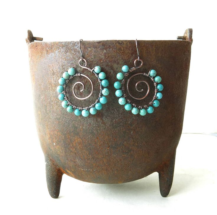 Turquoise spiral earrings - stone beads, copper wire wrapped hoops by dalystudios on Etsy https://www.etsy.com/listing/569304434/turquoise-spiral-earrings-stone-beads