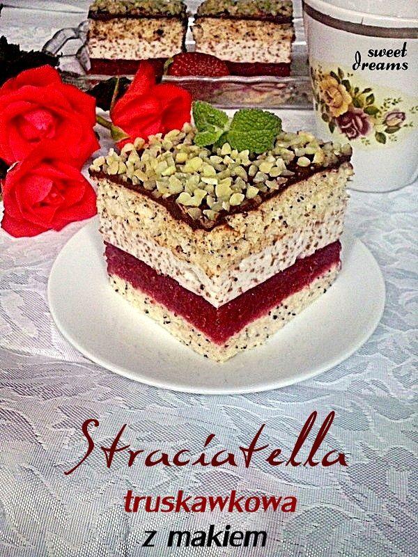 Ciasto Stracciatella  truskawkowa z makiem