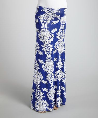 Look what I found on #zulily! Blue Arabesque Mid-Belly Maternity Maxi Skirt by Anticipation #zulilyfinds