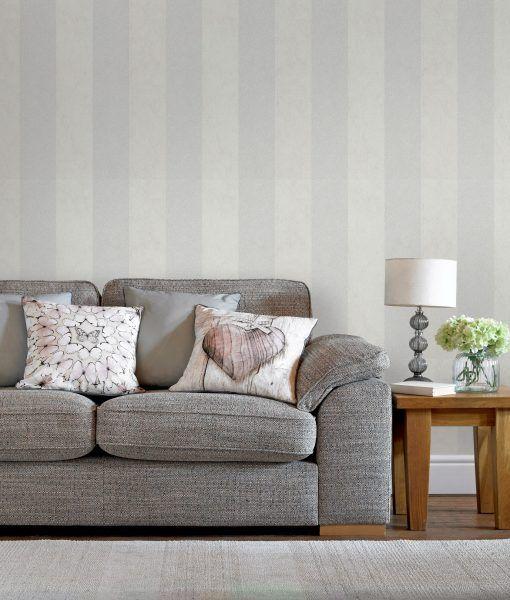 Artisan Stripe Dove | Wallpaper Empourium