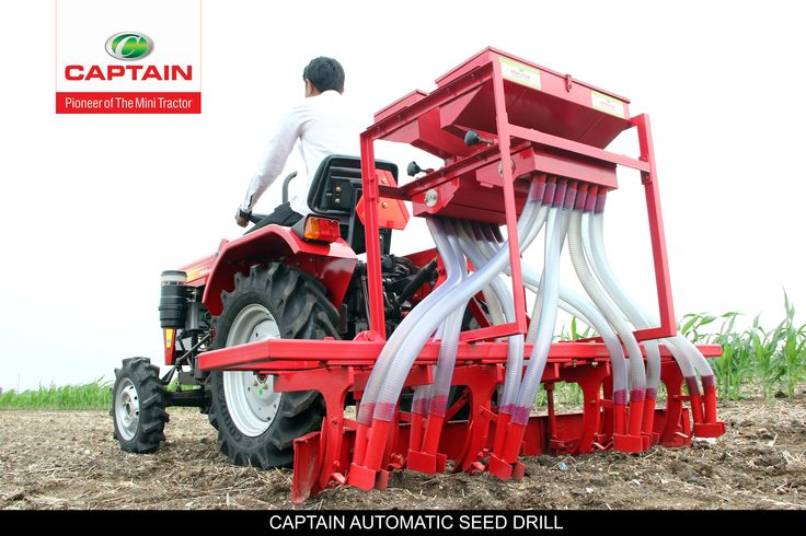 Captain Sowing device that precisely positions seeds into soil and make them grow into grains.- Captain Automatic Seed Drill.