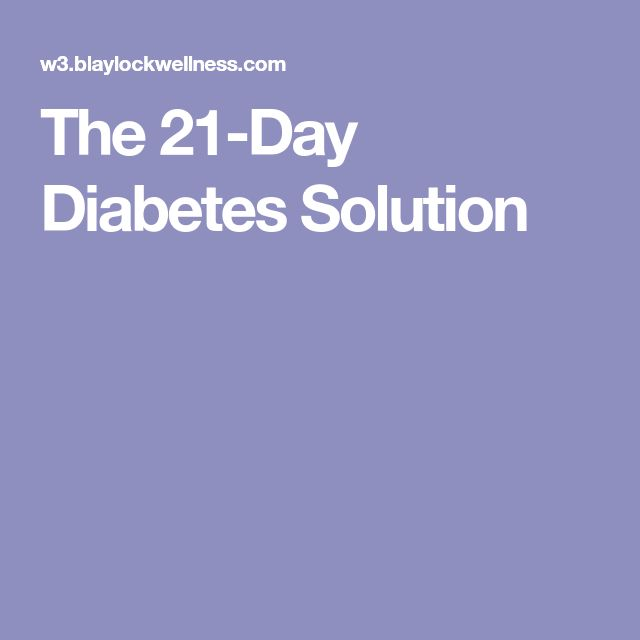 The 21-Day Diabetes Solution