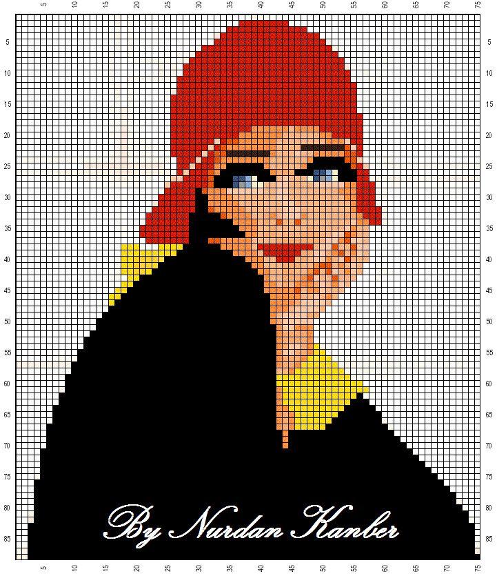 Points de croix *@* cross stitch A vintage woman - adaptation from a vintage illustration