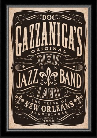 Dixieland Band Jazz New Orleans Poster. $75.00, via Etsy.