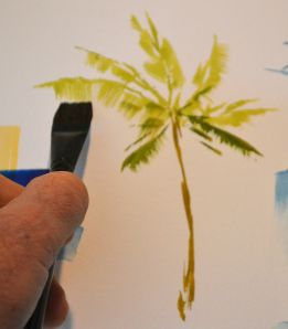 paint a palm tree by using different sides of flat brush