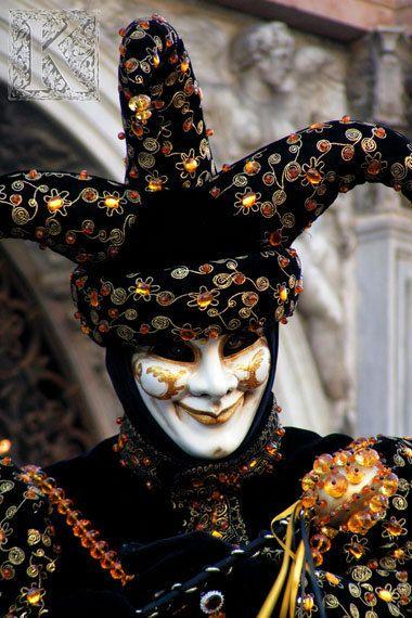 Jester - Signed photo 8 x 12 - BOGO sale - Carnival of Venice mask costume masquerade baroque mystery black orange hat via Etsy