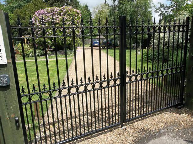 Ornate automated driveway gates metal gates steel iron for Aluminum gates for driveways