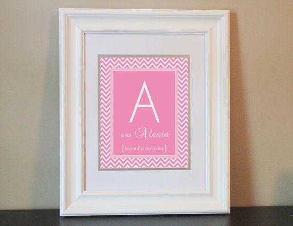 Chevron Baby Nursery Name Art Girl (Pink)- 8x10 Personalized Digital Print- Printable on Etsy, $14.00