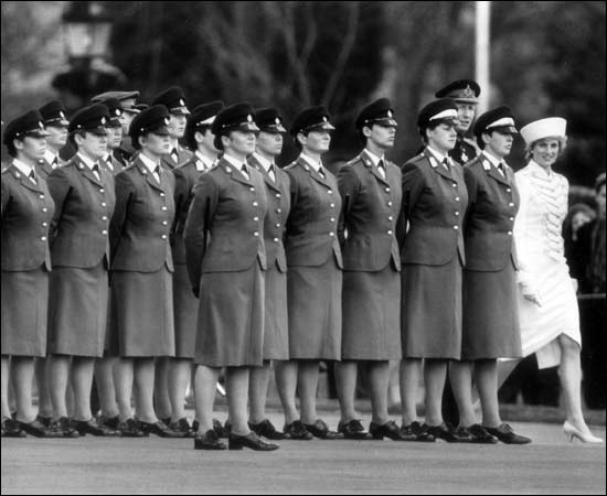 Eyes white ... Diana stands out at the Royal Military Academy, Sandhurst '87