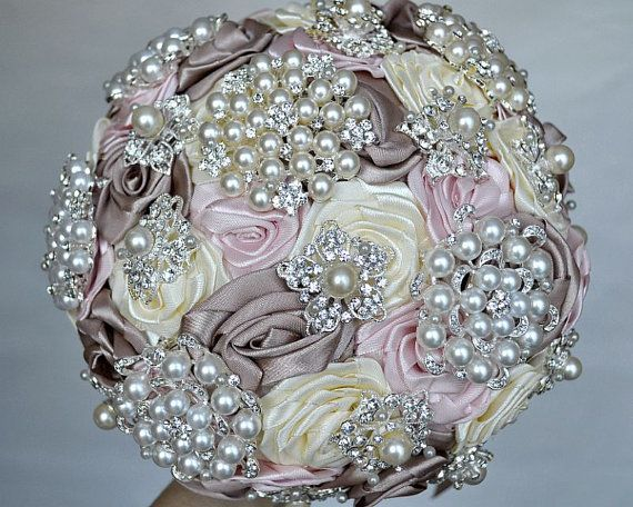 Brooch bouquet. Blush Pink, Ivory and Champagne wedding brooch bouquet, Jeweled Bouquet. on Etsy, $200.00