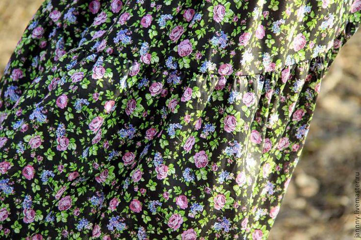 """Купить Юбка ситцевая """"Мелкие цветочки"""" - черный, цветочный, ситцевая юбка, юбка из ситца"""