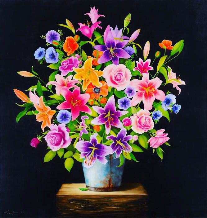 "Liene Liepiņa ""Flowers"" oil on canvas, size: 100 x 80 cm, year of 2013."